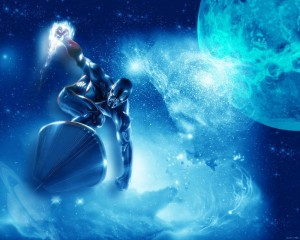 Silver Surfer Surfing past the moon