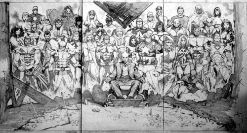 House Of M 01 Cover Sketch Art by Olivier Coipel