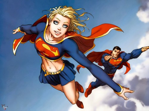 Supergirl and Superman Flying