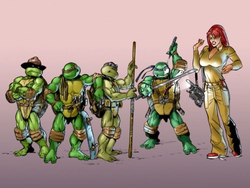 Teenage Mutant Ninja Turtles with April ONeil