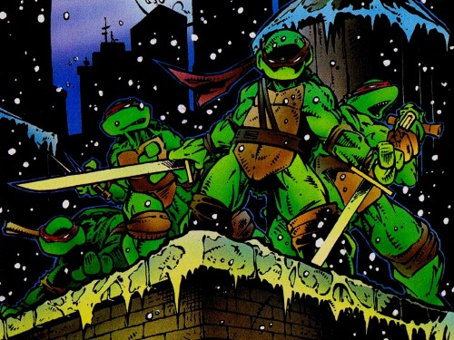 The Teenage Mutant Turtles in the snow