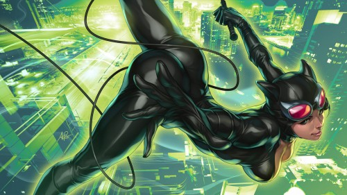 catwoman jumps over the city