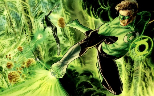 green lanterns cleaning up a mess