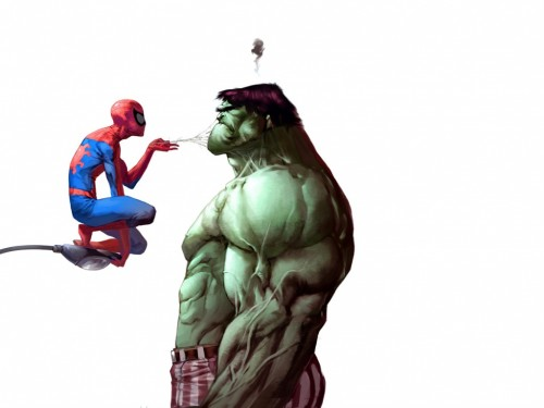 spider-man shuts up the hulk