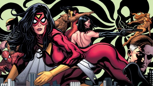 spider-woman, spider-man, wolverine, tigra, nick fury