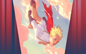 powergirl flies down