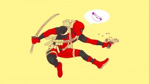 Deadpool shooting and talking about hot dogs