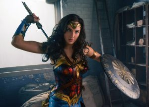 wonder woman has blue eyes and a sword