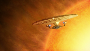 Enterprise leaving a sun
