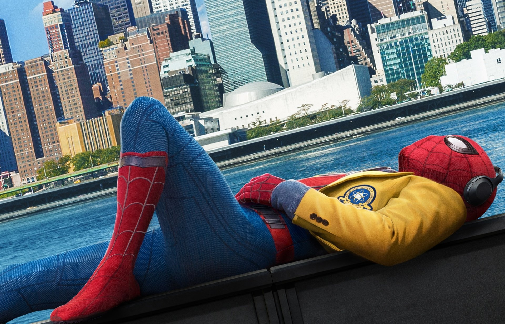 MCU Spider-man listening to music while in costume.jpg