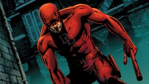 Daredevil holding his bloody billy club