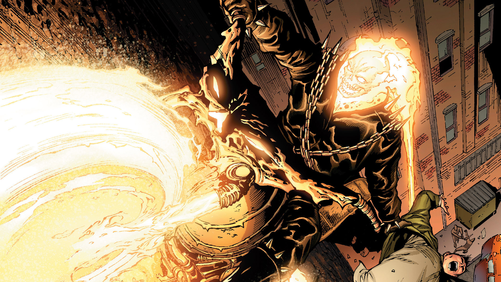 Ghost Rider scaring a young man.jpg