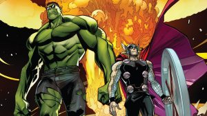 Hulk and Thor are cool guys who walk away from explosions