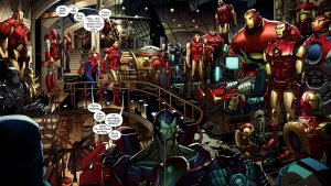 Iron Man shows off his classic suits to spider-man