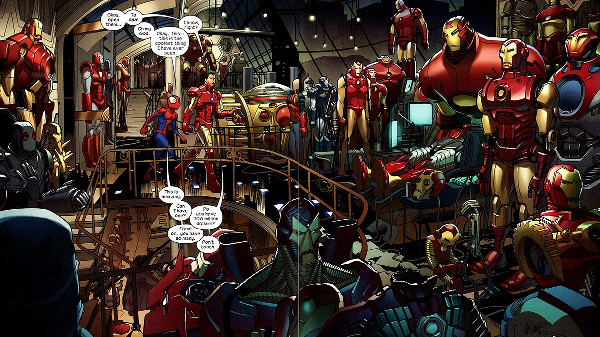 Iron Man shows off his classic suits to spider-man.jpg