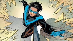 Nightwing jumps after his stick