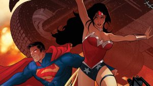 Superman and Wonder Woman under a tank
