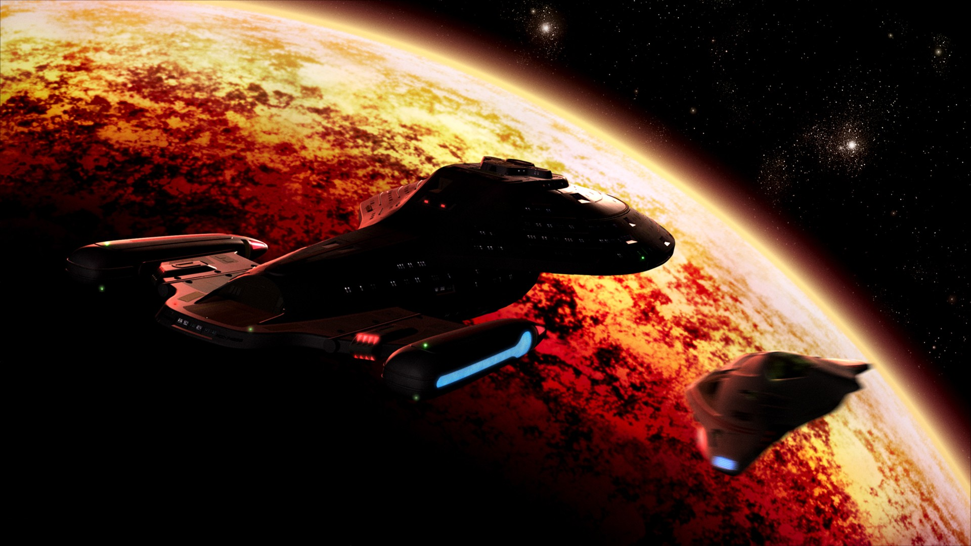 The USS Voyager in orbit around a burning planet while the Delta Flyer is about to explode.jpg