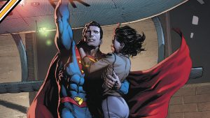 superman holding up a woman