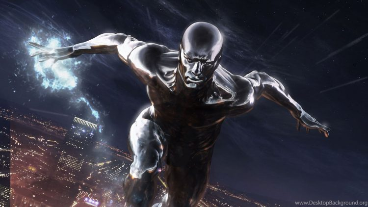 Silver Surfer over the city
