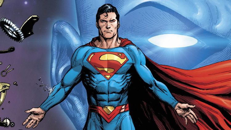 superman with his hands out like Christ