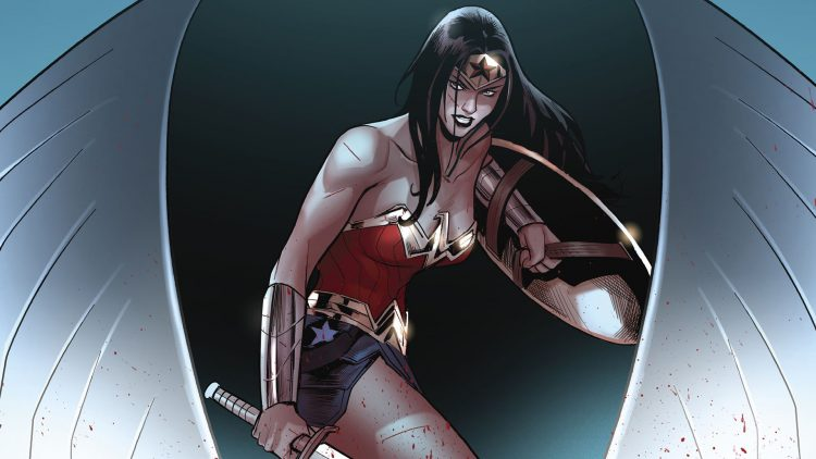 wonder woman with a cut on her face