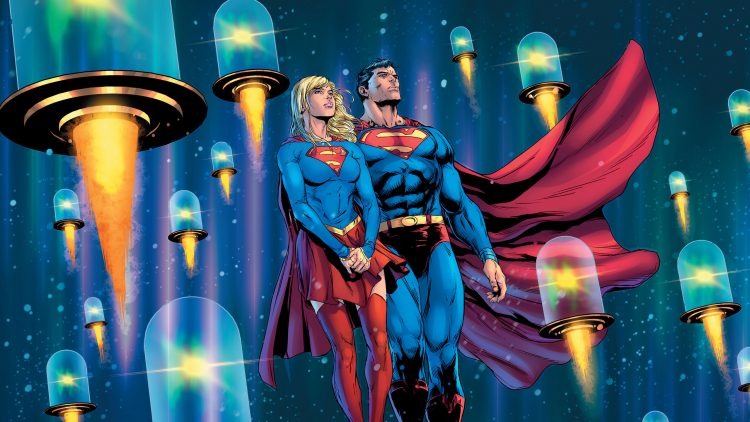 Supergirl and Superman with jar rockets