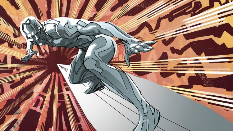 The Silver Surfer on his board