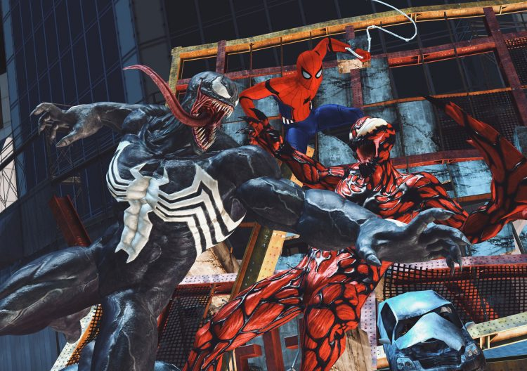 venom and carnage while spider-man watches