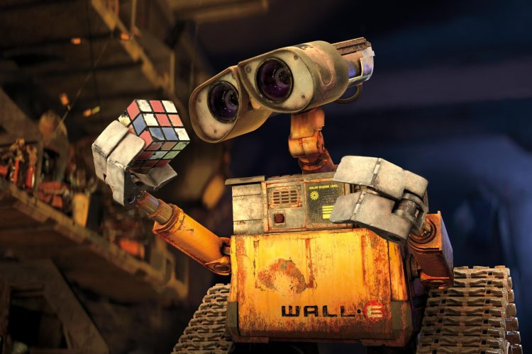 wall-e and a cube
