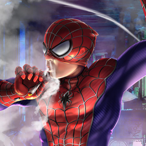Spider-man ripping on a fat joint
