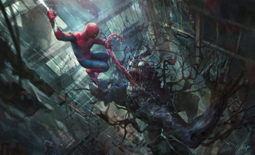 Spider-man ripping out Venom's tongue
