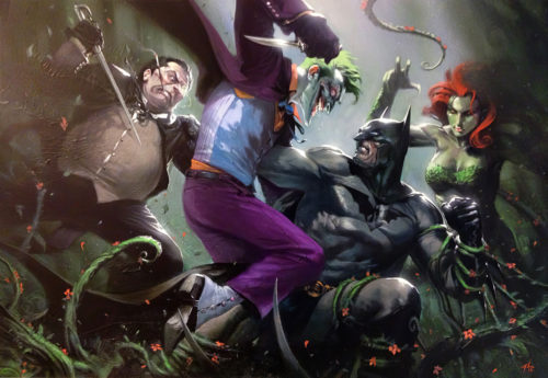 batman being attacked by the joker whilst poison ivy is holding him down and the penguin gets all stabby
