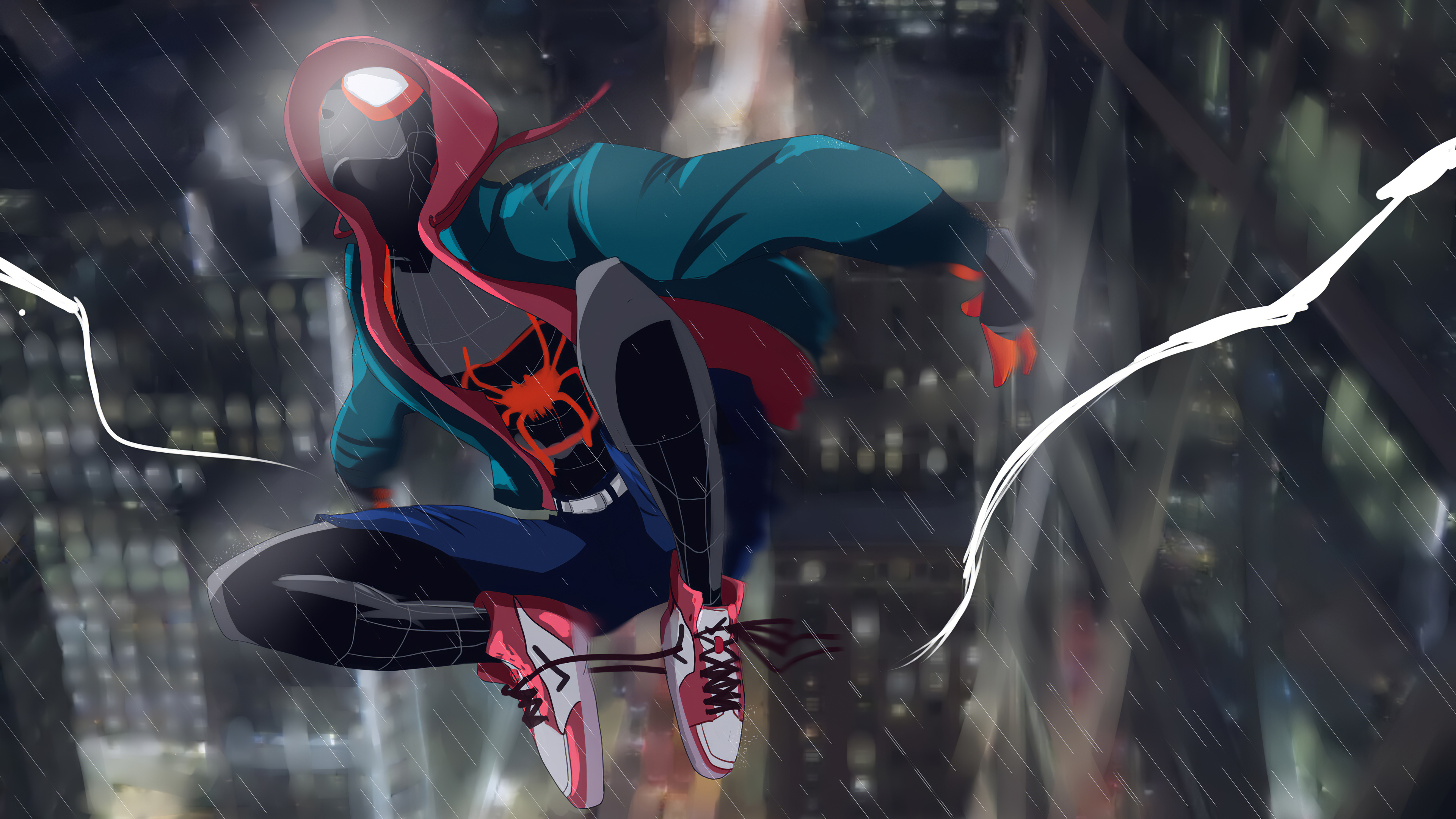 spider-miles is electric and needs to tie his shoes