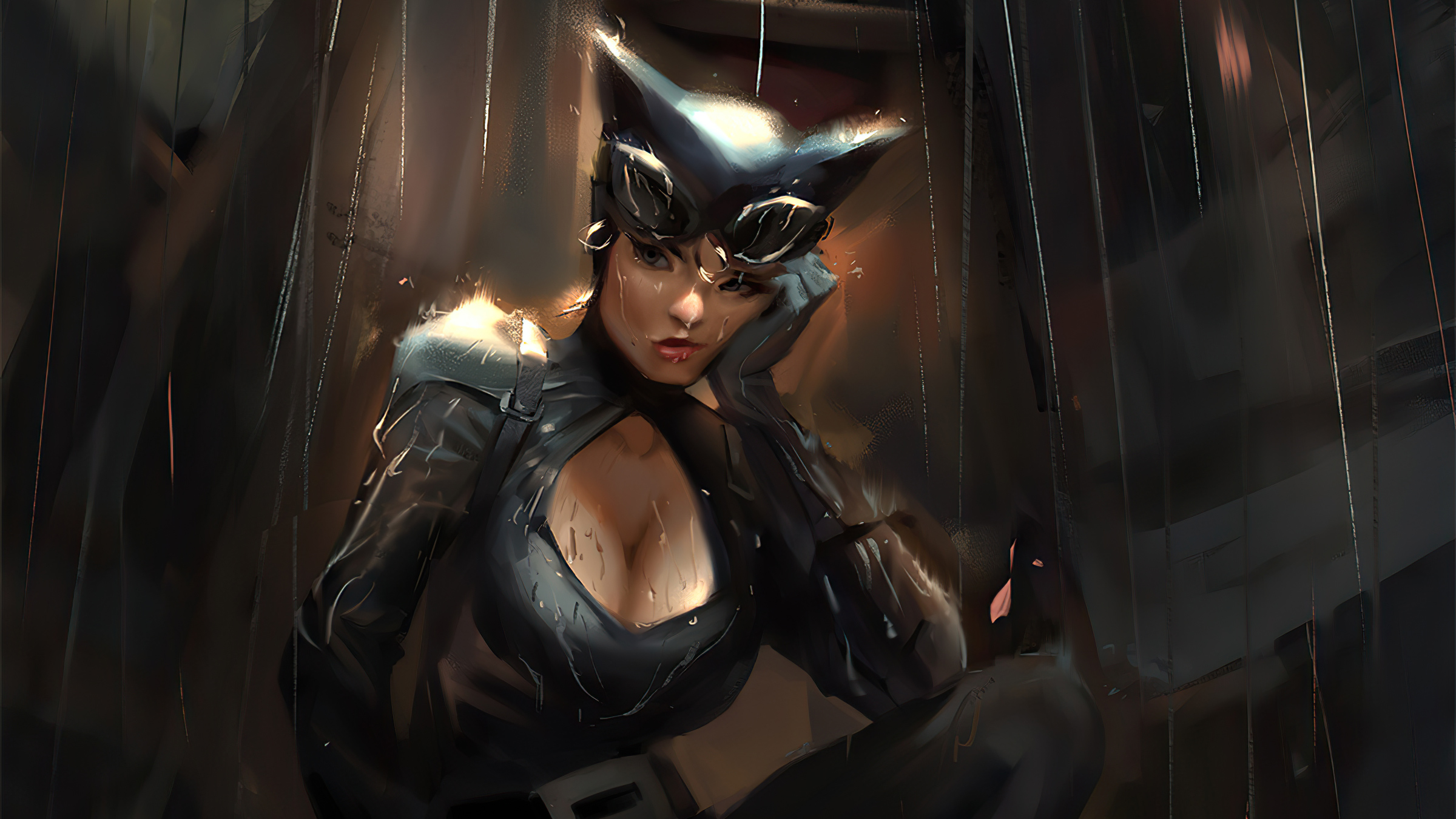 Catwoman In The Rain