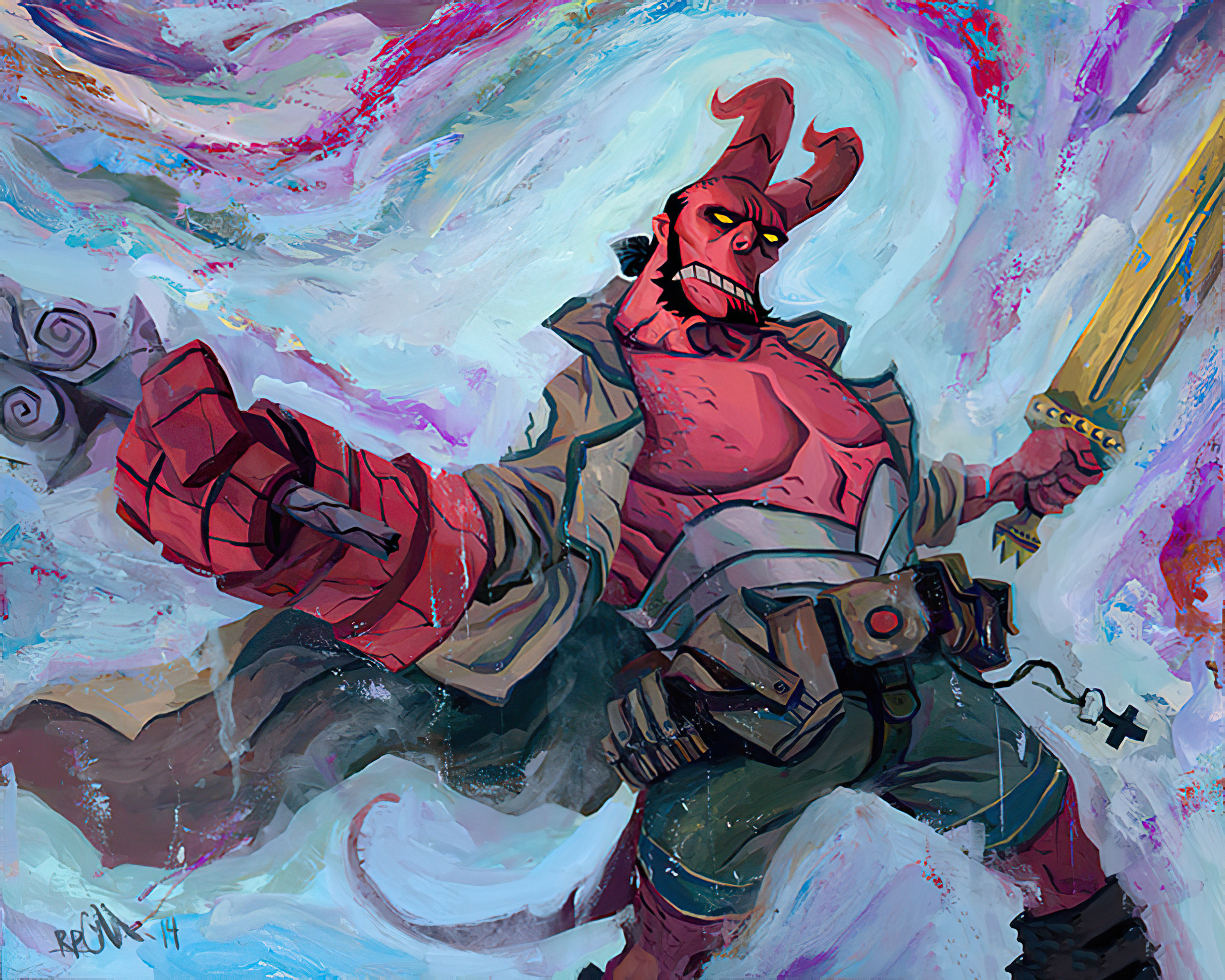hellboy in paint