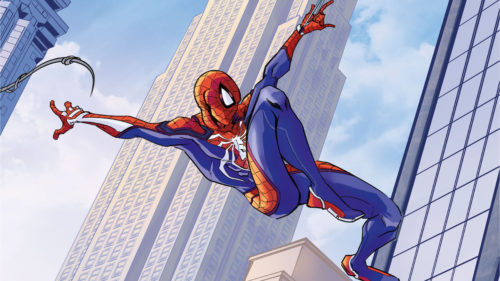 Spider-man leaps from web