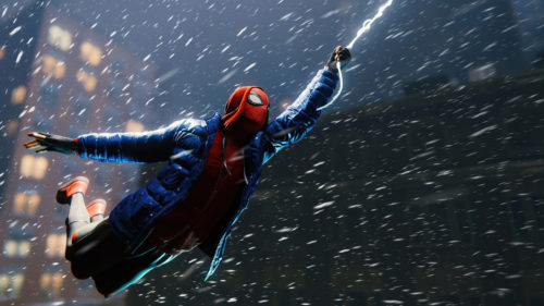 spider-man swings in the snow